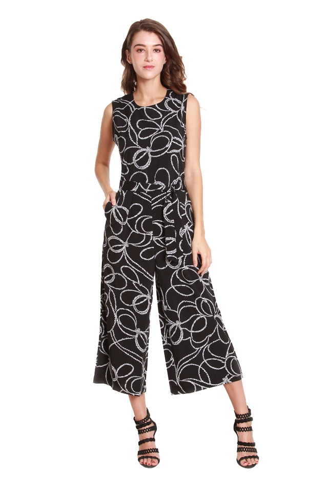 Penelope Bow Printed Jumpsuit
