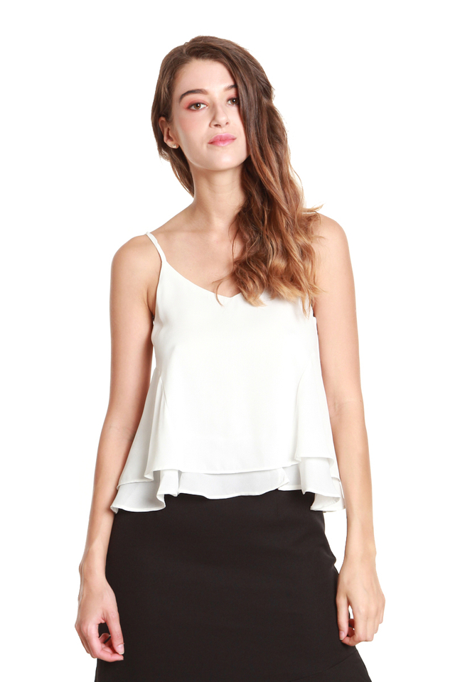 Adriel Double-Layer Camisole in White
