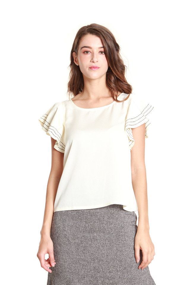 Vanna Ruffled Cap Sleeve Blouse in White