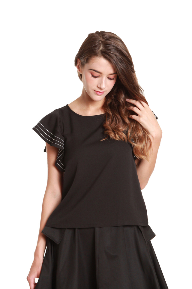 Vanna Ruffled Cap Sleeve Blouse in Black