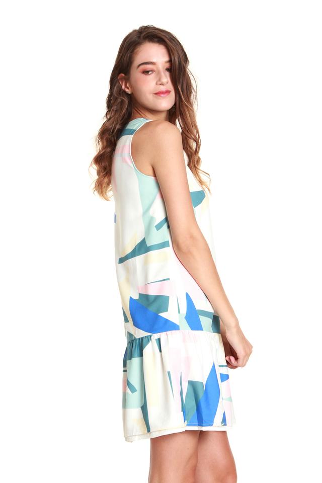 Paisley Multicolor Sleeveless Mini Dress in White