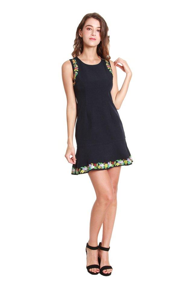 Laura Flower Trimmed Dress in Navy