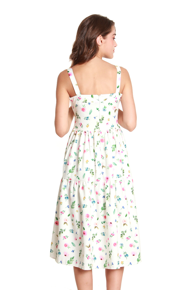 Julianna Multicolor Floral Dress in White