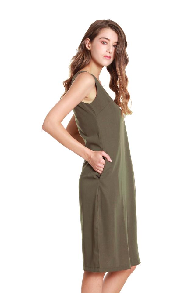 Emery Classic Sleeveless Midi Dress in Olive