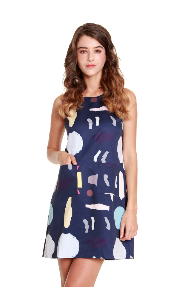 Layla Art Print Mini Dress in Navy
