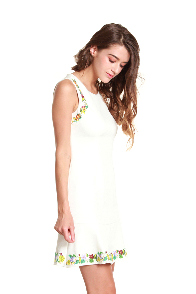 Laura Flower Trimmed Dress in White
