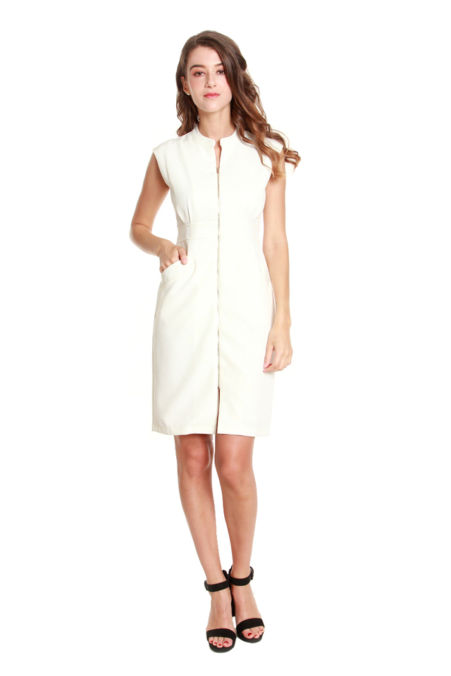 Verena Front Zip Dress in White
