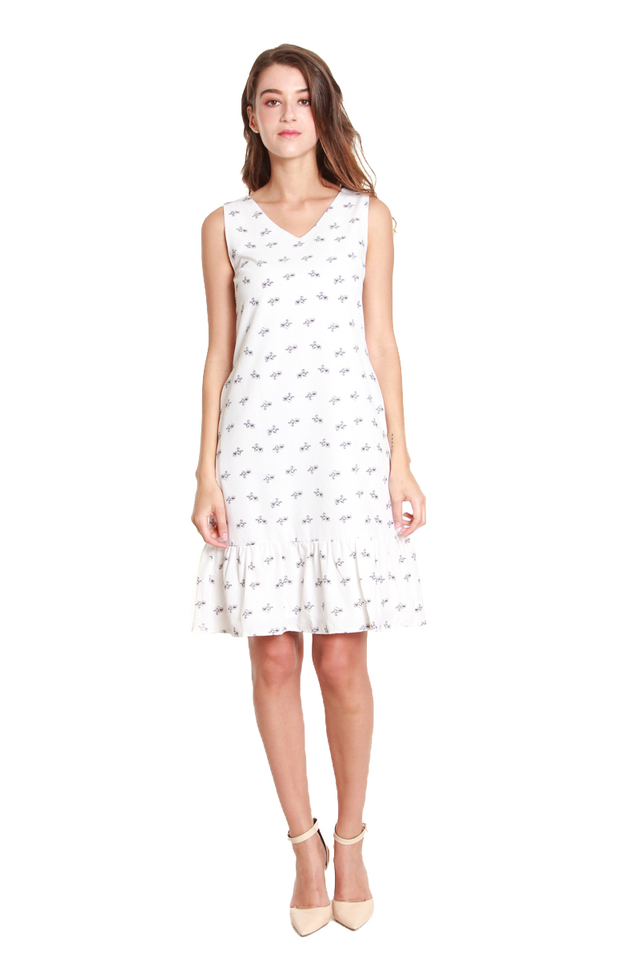 Eille Mini Flower Print Dress in White