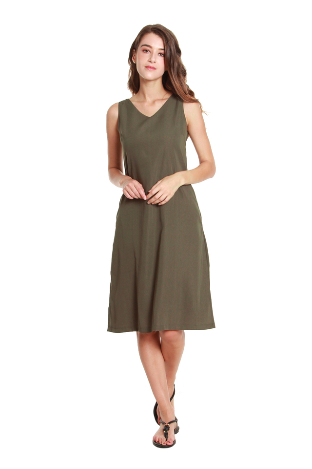 Emery Classic Sleeveless Midi Dress in Olive