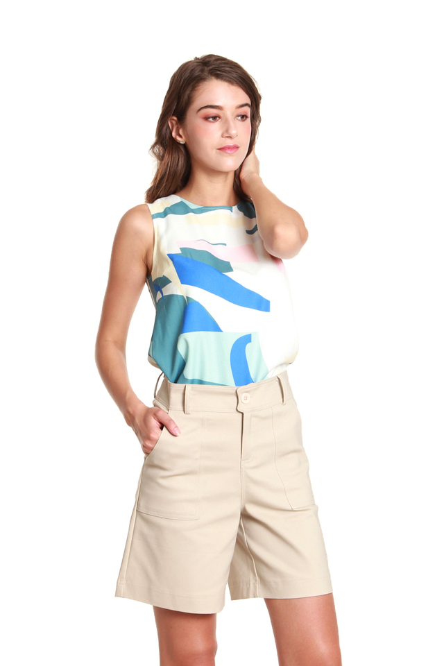 Amelia Everyday High-Waisted Shorts in Beige