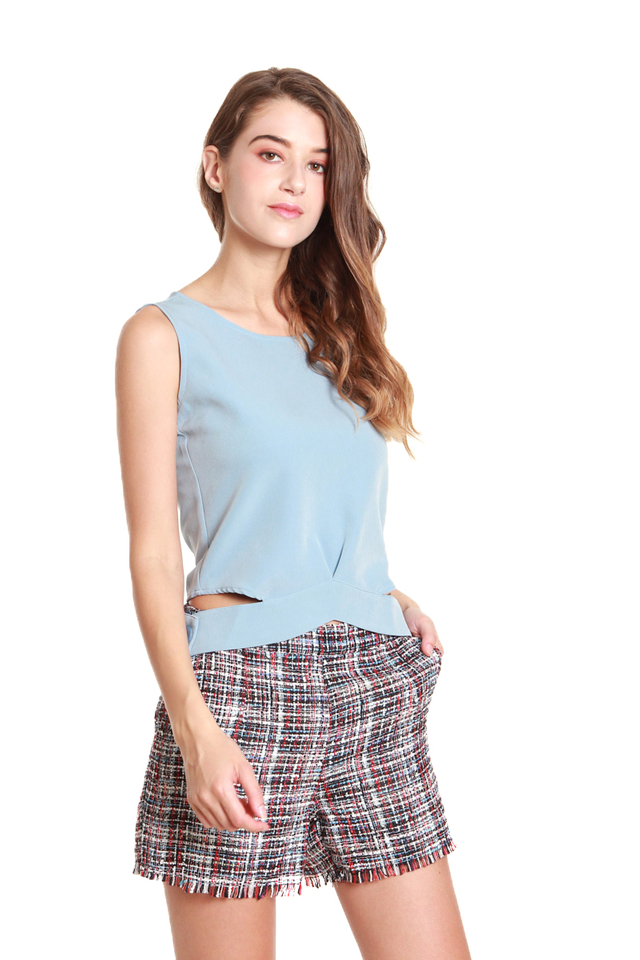 Camila Button Hem Sleeveless Blouse in Baby Blue