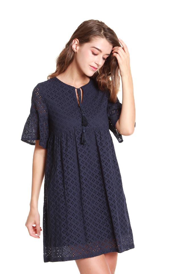Emilia Tassel-Tie Eyelet Babydoll Dress in Navy Blue