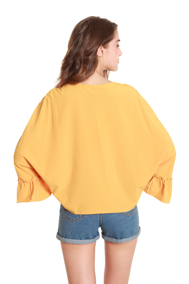 Brenna Ruched Batwing Blouse in Mustard