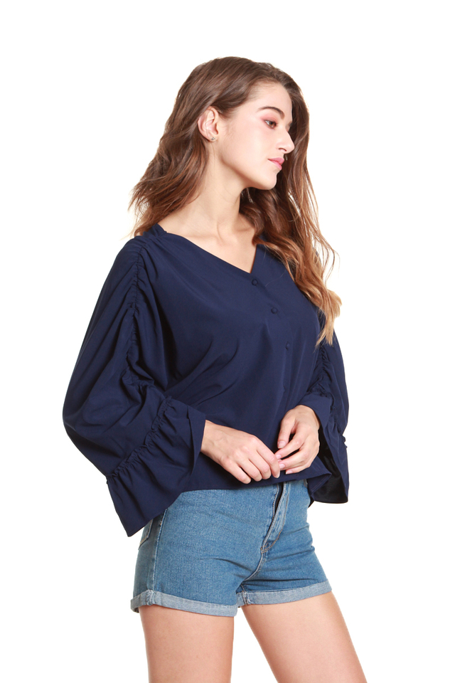 Brenna Ruched Batwing Blouse in Navy Blue
