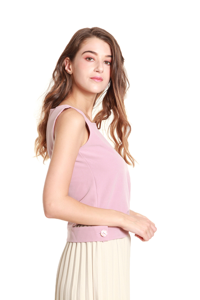 Camila Button Hem Sleeveless Blouse in Pink