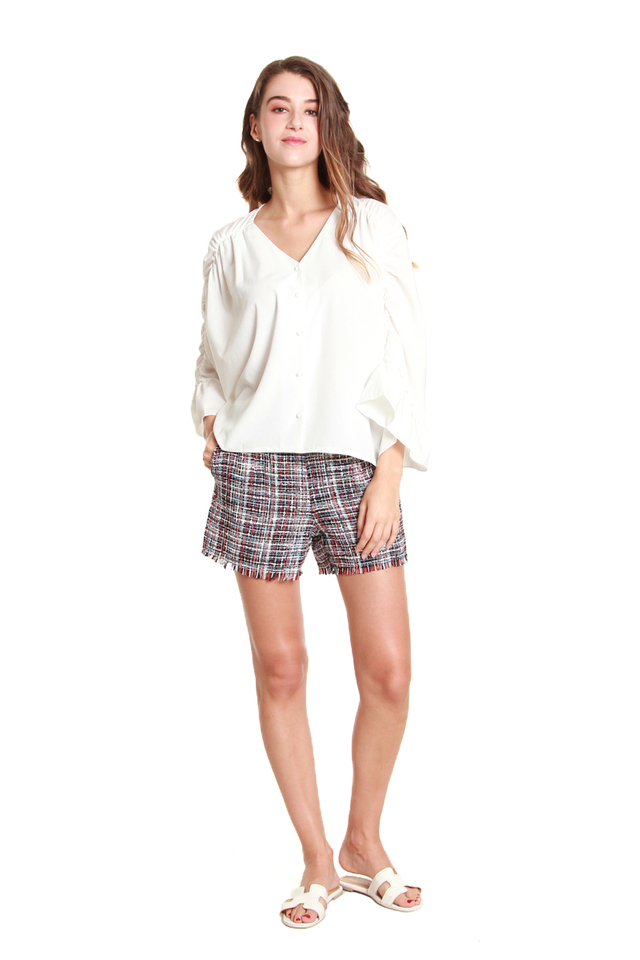 Brenna Ruched Batwing Blouse in White