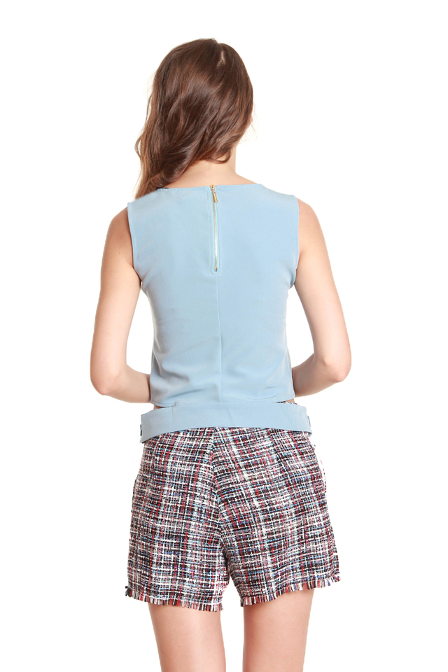 Camila Button Hem Sleeveless Blouse in Baby Blue
