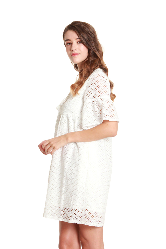 Emilia Tassel-Tie Eyelet Babydoll Dress in White