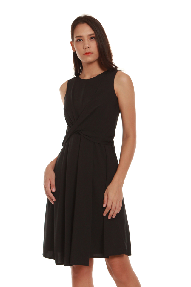 Madelyn Fit and Flare Twist Dress in Black