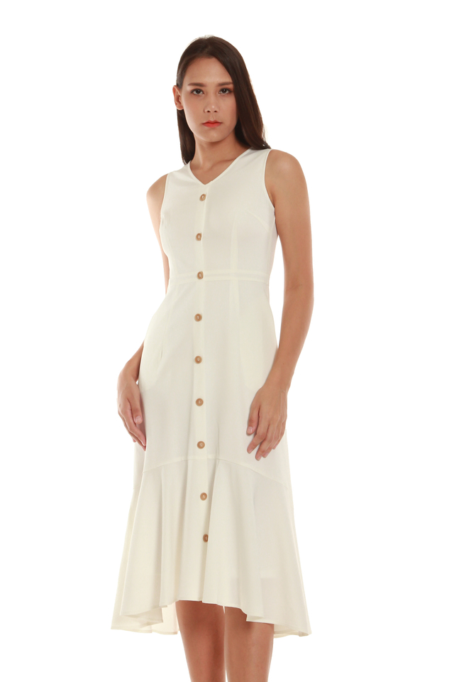 Lila Button-Front Fishtail Midi Dress in White