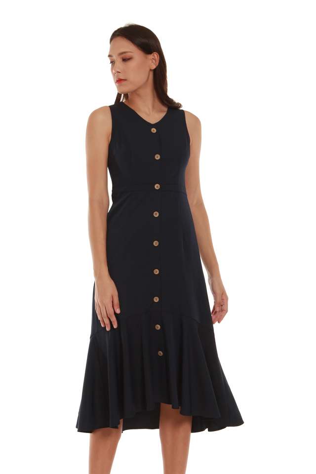 Lila Button-Front Fishtail Midi Dress in Navy Blue