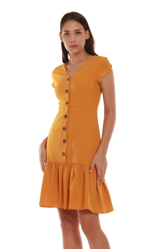 Gemma Vintage-Style Trumpet Dress in Mustard