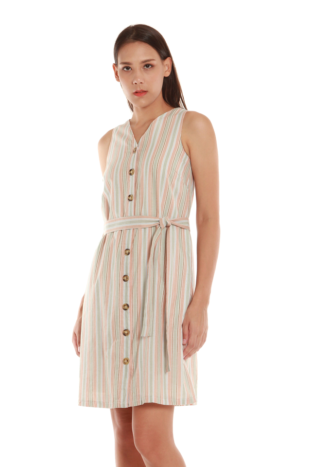 Alayna Striped Button-Front Dress