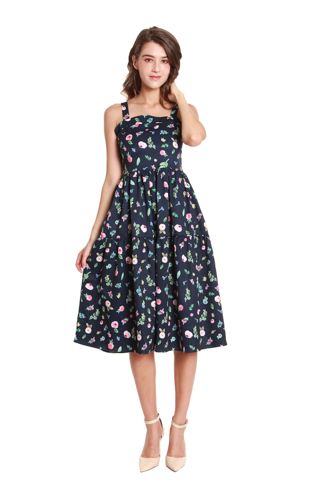 Julianna Multicolor Floral Dress in Navy
