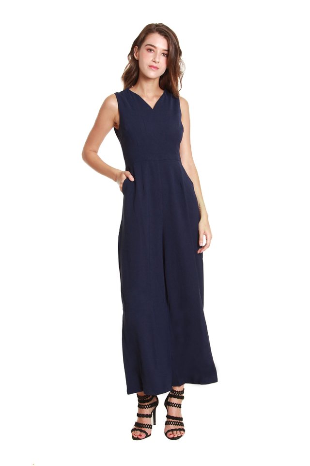 Catherine Classic Sleeveless Jumpsuit in Navy Blue