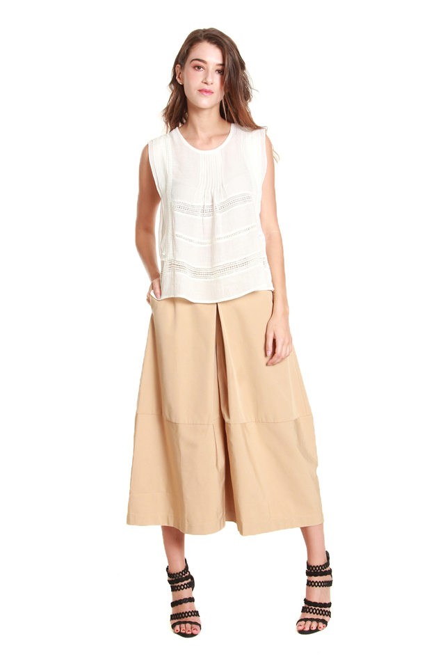 Claire Cropped Culotte Pants in Beige