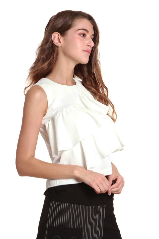 Mariah Ruffled Sleeveless Blouse in White