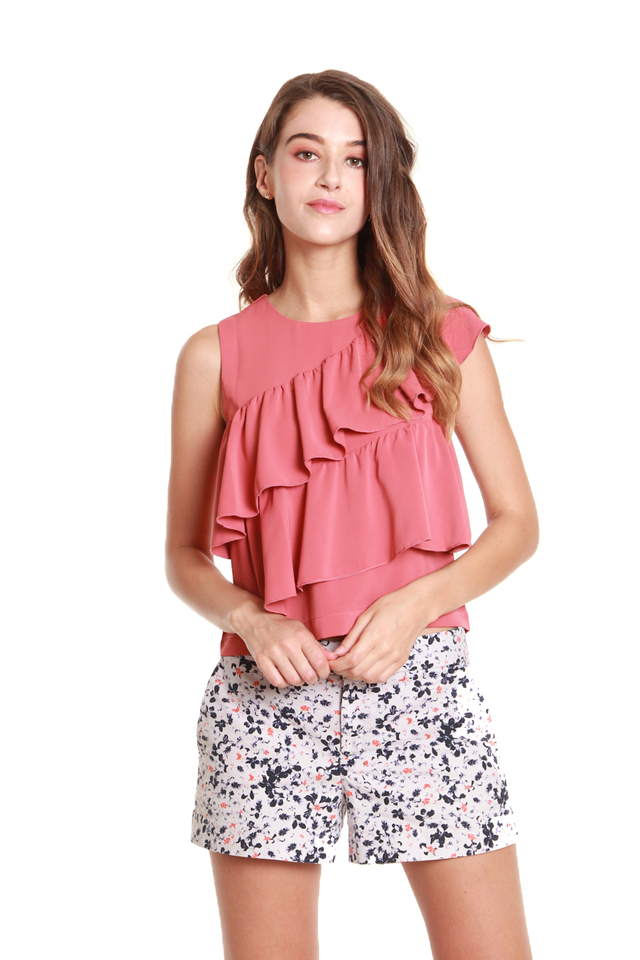 Mariah Ruffled Sleeveless Blouse in Rose Pink