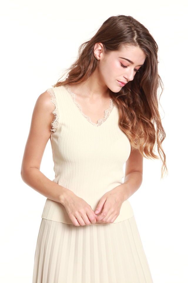 Gala Lace-Trimmed Tank Blouse in Beige
