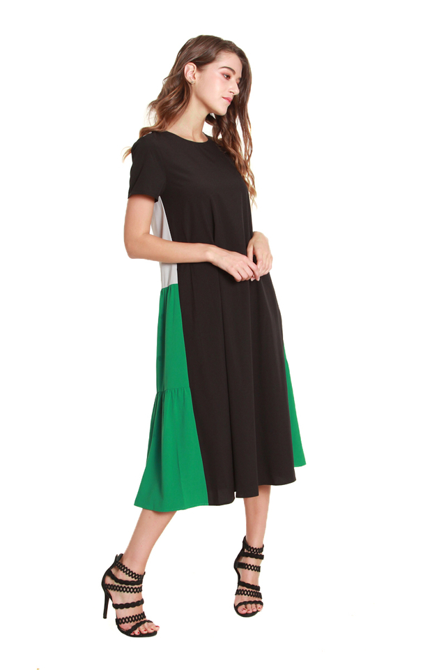Adelyn Tiered Colorblock Dress