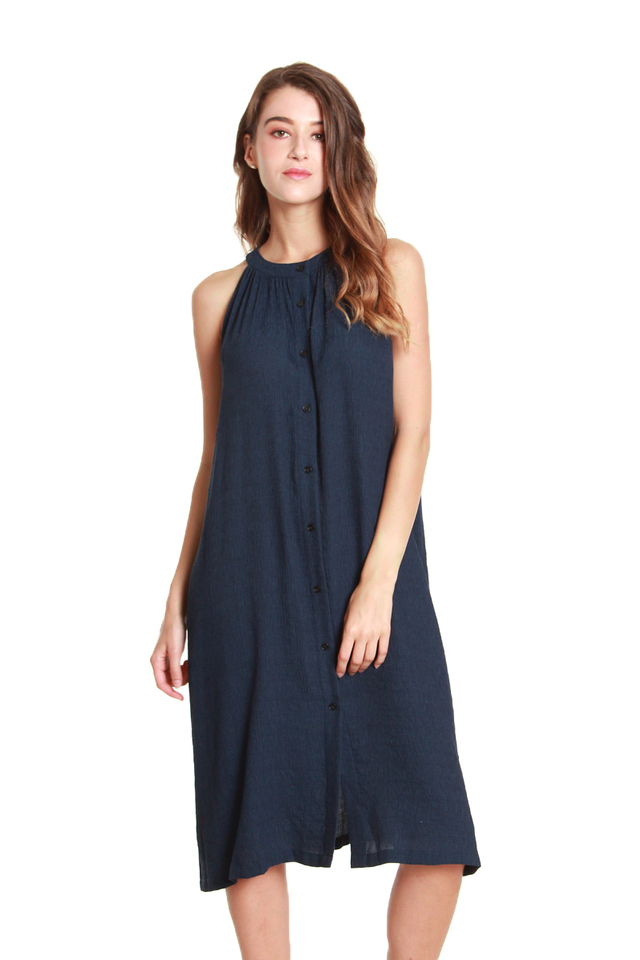 Lia Round Neck Button-Front Midi Dress