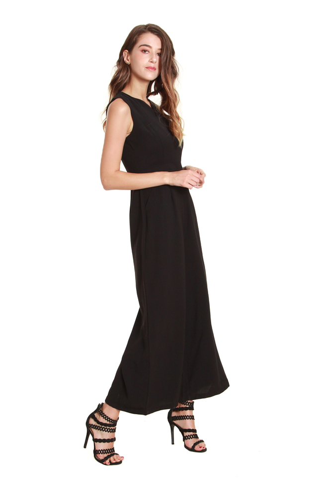 Catherine Classic Sleeveless Jumpsuit in Black