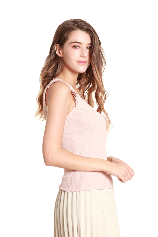 Gala Lace-Trimmed Tank Blouse in Pink