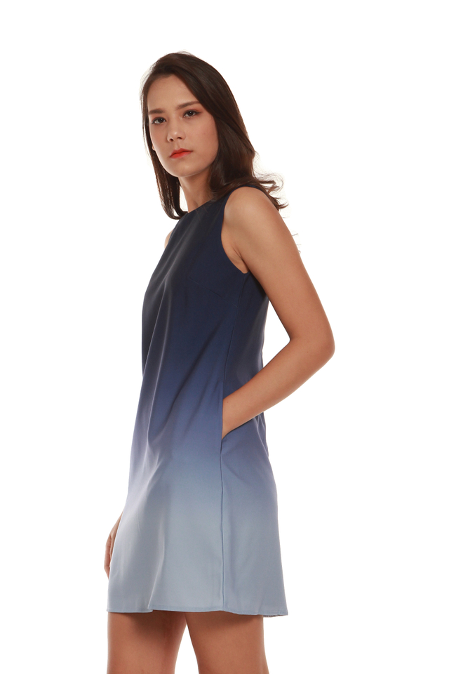 Marissa Ombré Tank Dress in Blue/Light Blue