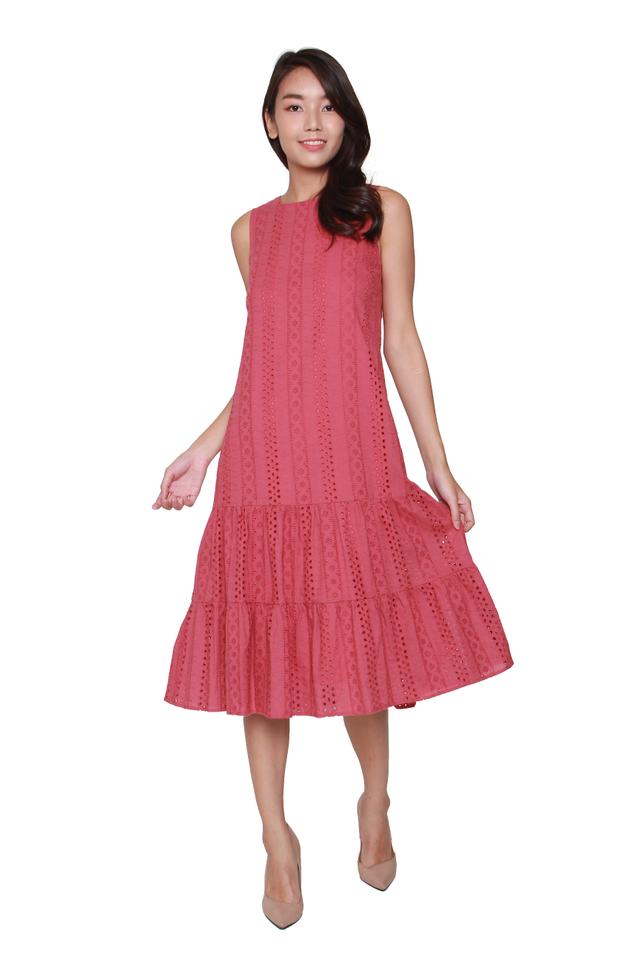 Nyla Eyelet Midi Dress in Tea Rose