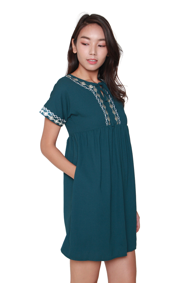 Della Embroidery Babydoll Dress in Forest Green