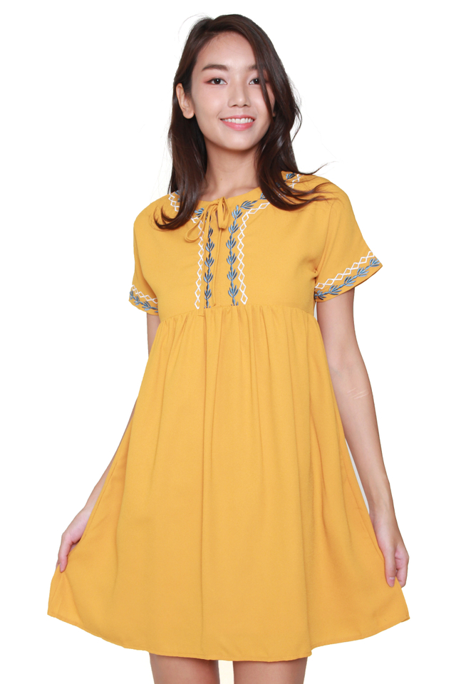 Della Embroidery Babydoll Dress in Mustard