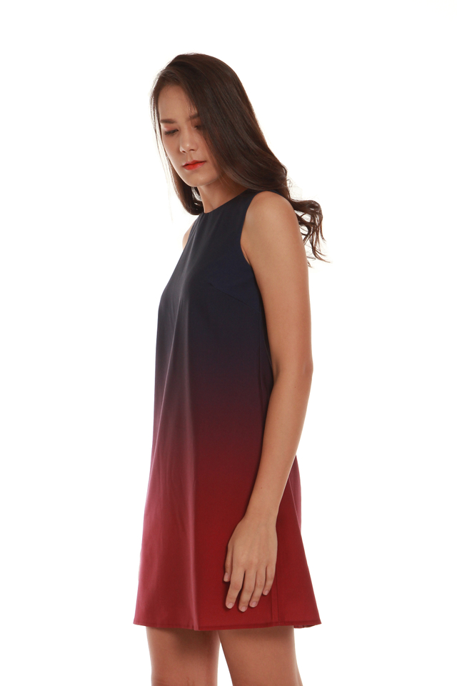 Marissa Ombré Tank Dress in Blue/Red