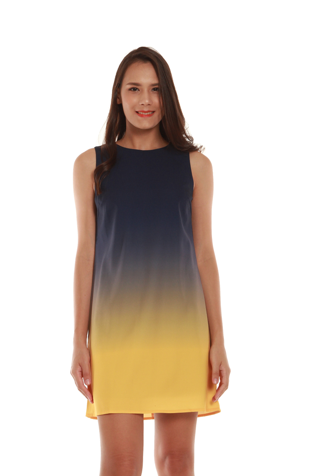 Marissa Ombré Tank Dress in Blue/Yellow