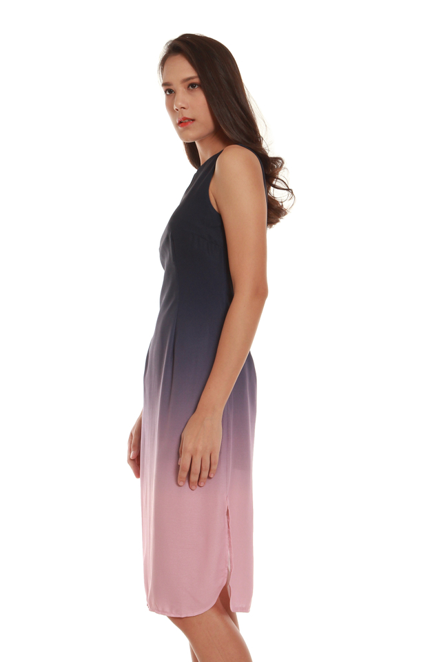 Sylvie Knee-Length Ombré Dress in Violet