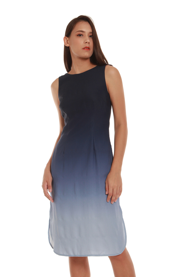 Sylvie Knee-Length Ombré Dress in Galaxy Blue