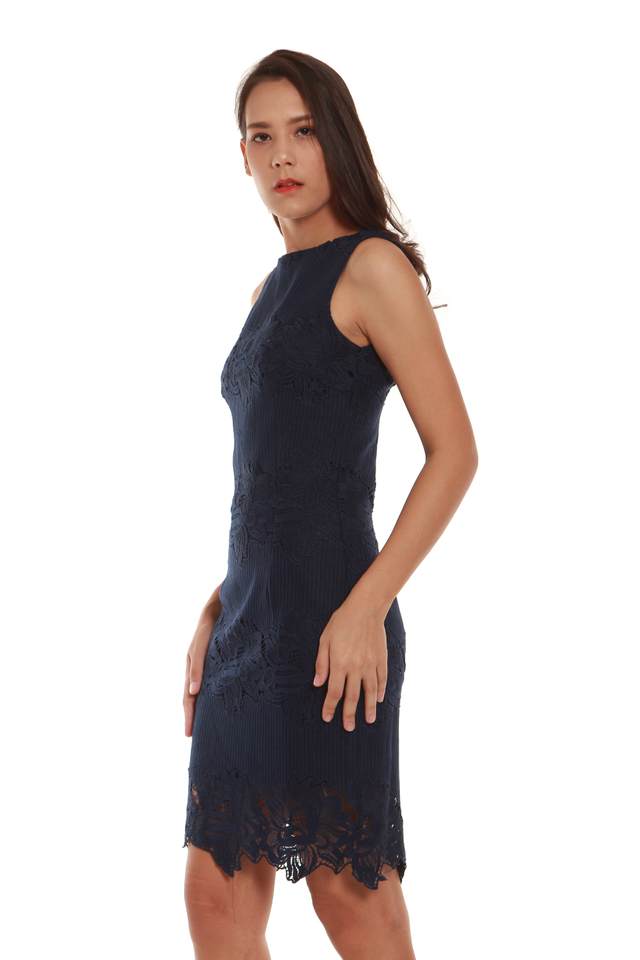 Milani Crochet Cocktail Dress in Navy Blue