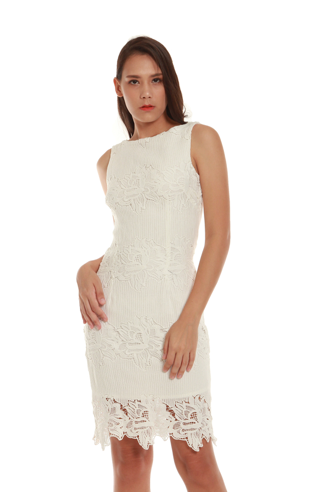 Milani Crochet Cocktail Dress in White