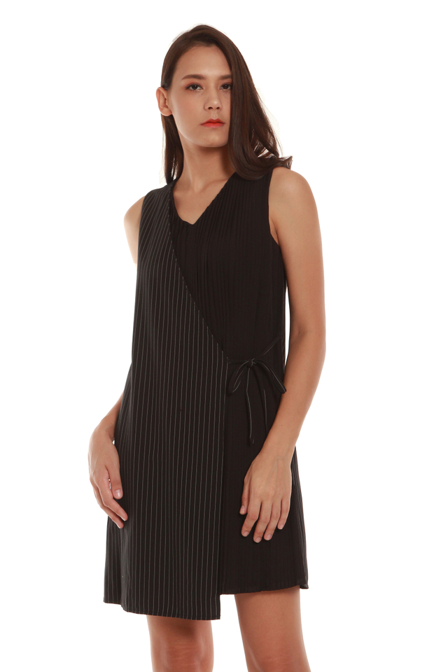 Valery Sleeveless Faux Wrap Dress in Black