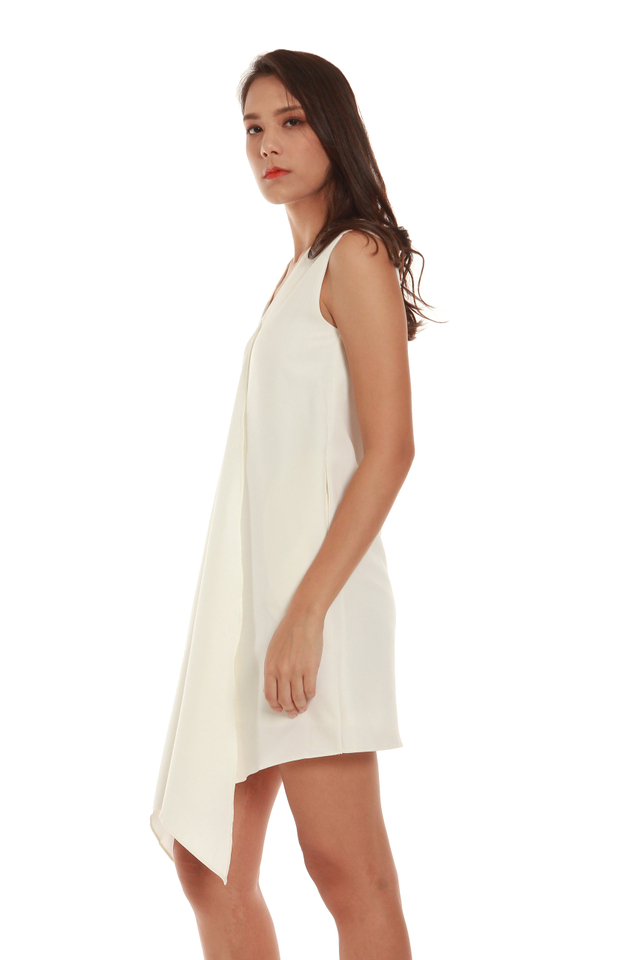 Mavis Cascade Mini Dress in White