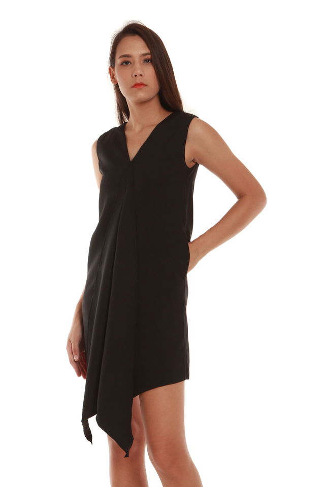 Mavis Cascade Mini Dress in Black